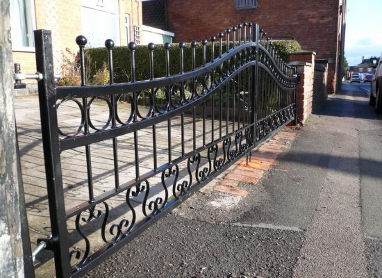 Wrought Iron Double Gates Bow Top